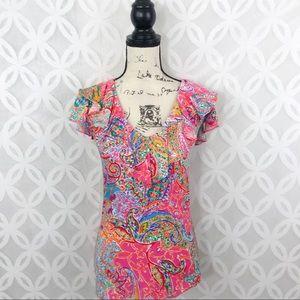 Lauren Ralph Lauren Printed Ruffle Cap Sleeve Top